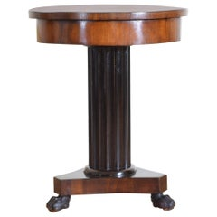 Italian Empire Period Walnut and Ebonized 1-Drawer Centre Table