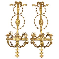 Italian Empire Revival Style Giltwood Wall Candle Sconces