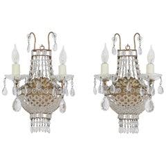 Italian Empire-Style Crystal Beaded Sconces