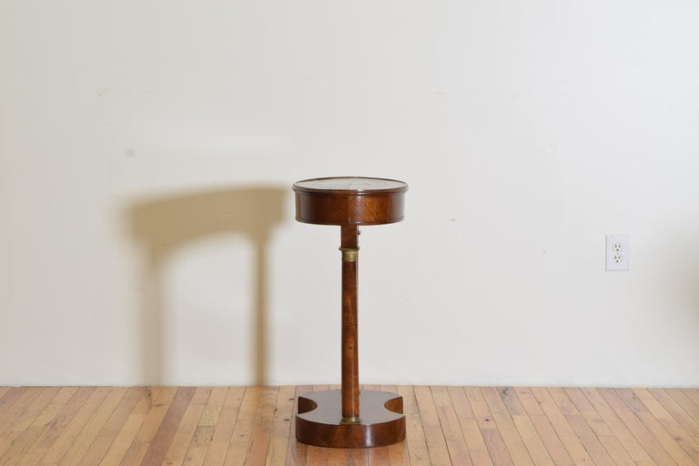 Italian Empire Style Walnut & Brass Mounted Flip-Top Occasional Table, ca. 1860 In Good Condition For Sale In Atlanta, GA
