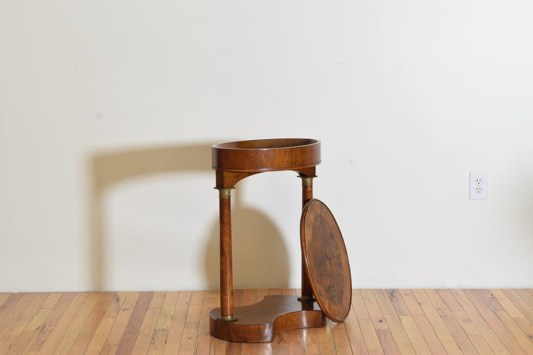 Mid-19th Century Italian Empire Style Walnut & Brass Mounted Flip-Top Occasional Table, ca. 1860 For Sale