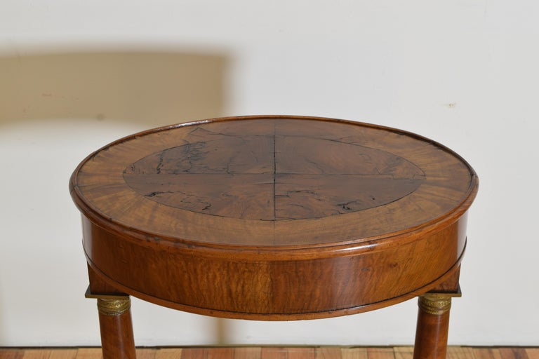 Italian Empire Style Walnut & Brass Mounted Flip-Top Occasional Table, ca. 1860 For Sale 1
