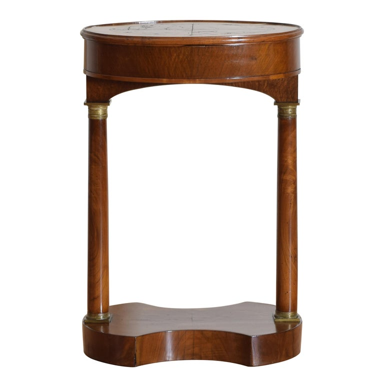 Italian Empire Style Walnut & Brass Mounted Flip-Top Occasional Table, ca. 1860 For Sale