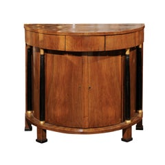 Italian Empire Style Walnut Demilune Cabinet with Ebonized Columns, circa 1930