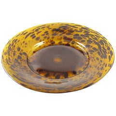 Italian Empoli 1960s Tortoiseshell Glass Large Centerpiece Bowl