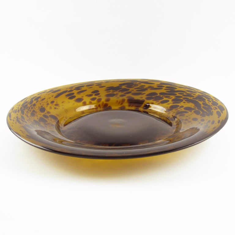 Modern Empoli 1960s Tortoiseshell Glass Centerpiece Bowl Platter For Sale