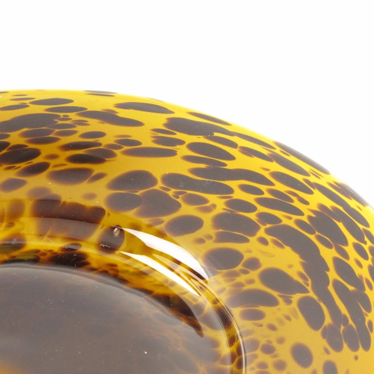 Italian Empoli 1960s Tortoiseshell Glass Centerpiece Bowl Platter For Sale