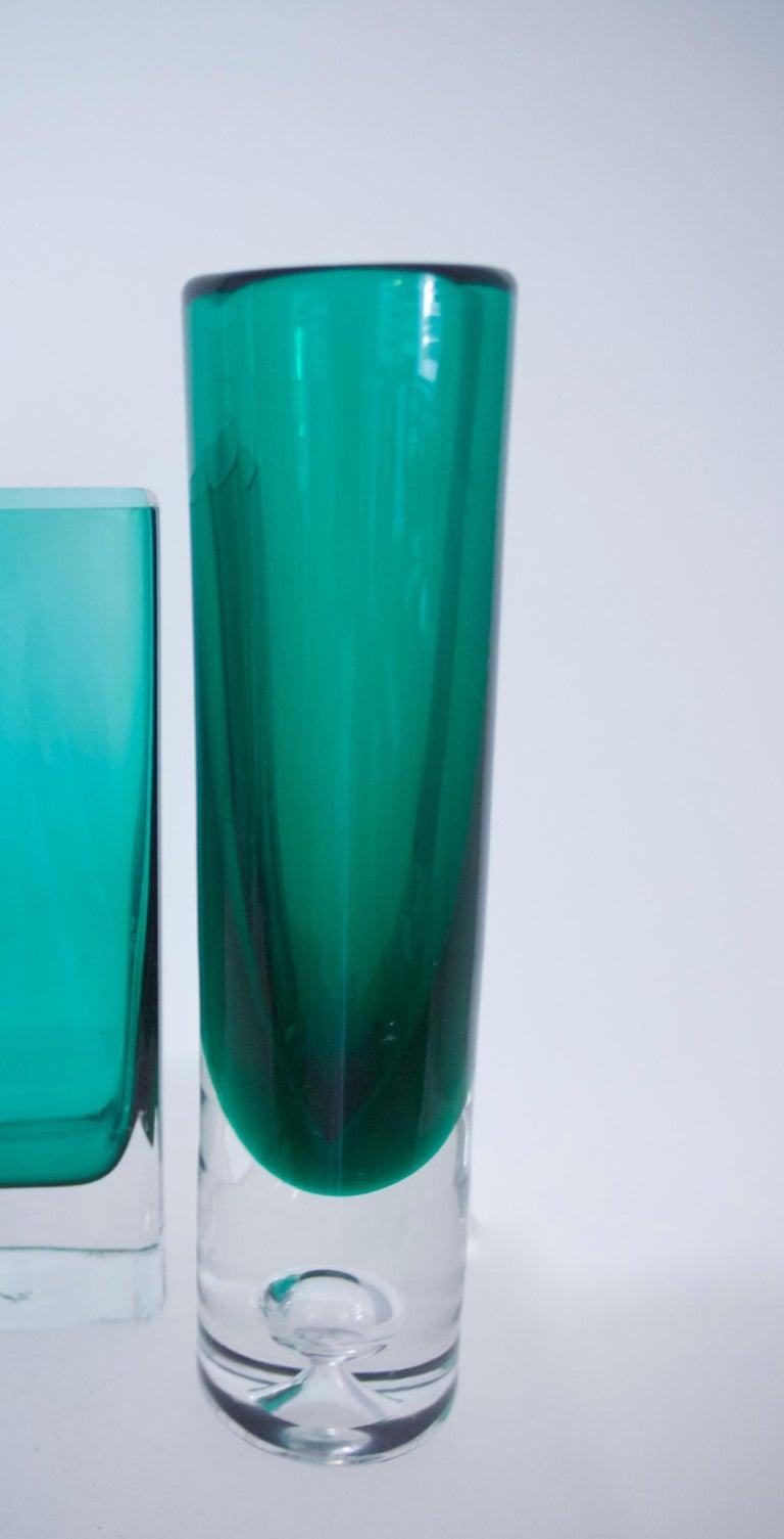 Italian Empoli Bottle Czech Bubble Glass and Lindshammer Vase from Scandinavia 7