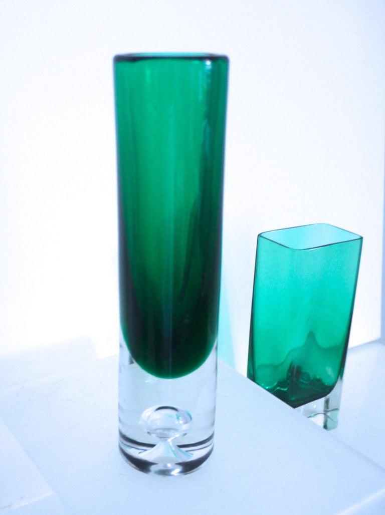 Italian Empoli Bottle Czech Bubble Glass and Lindshammer Vase from Scandinavia 8