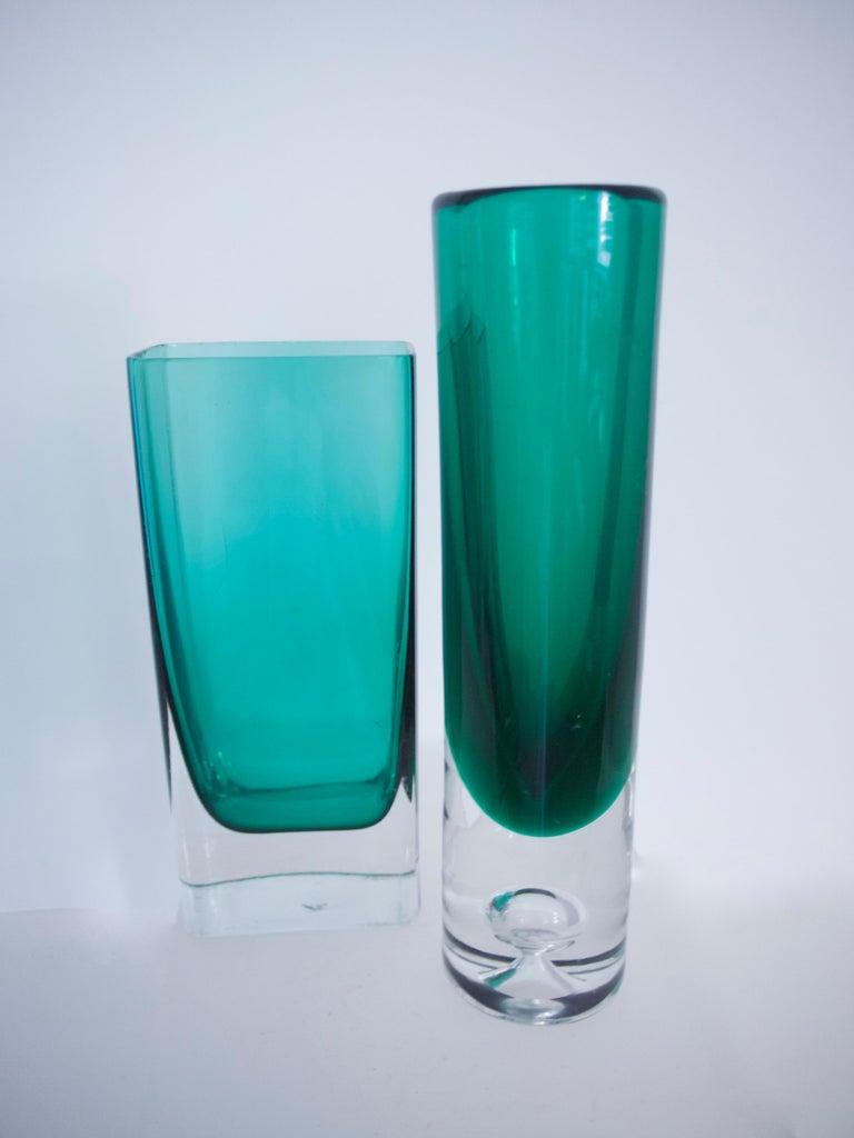 Art Glass Italian Empoli Bottle Czech Bubble Glass and Lindshammer Vase from Scandinavia