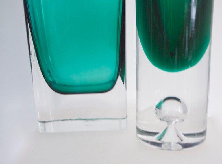 Italian Empoli Bottle Czech Bubble Glass and Lindshammer Vase from Scandinavia 1