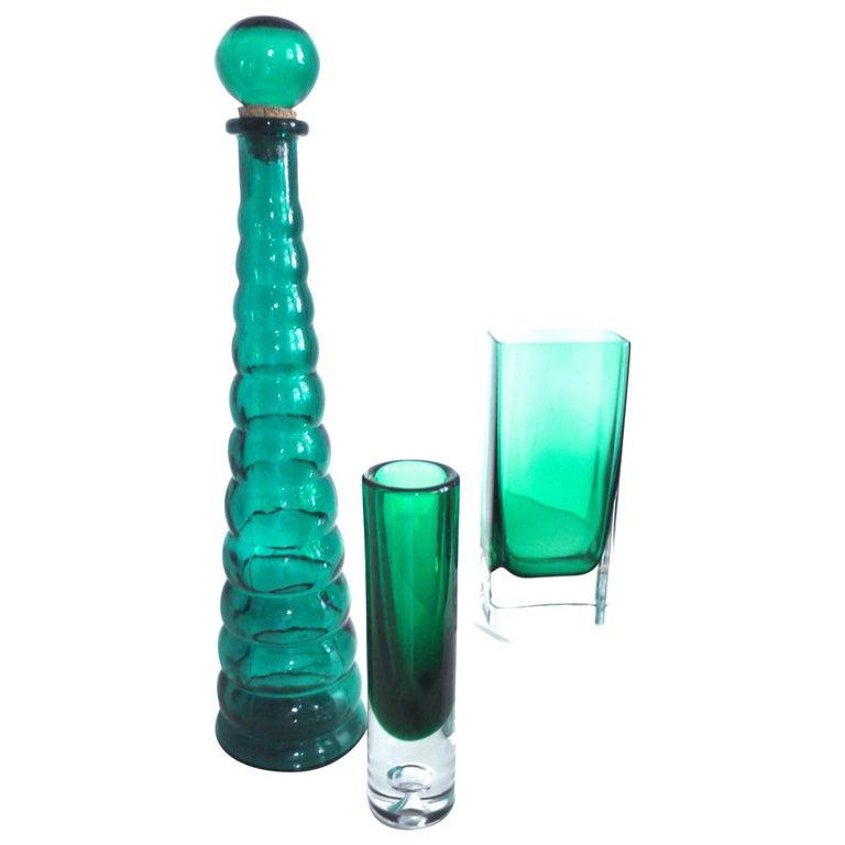 Italian Empoli Bottle Czech Bubble Glass and Lindshammer Vase from Scandinavia