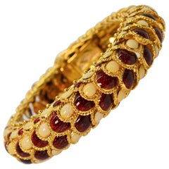 Italian Enamel 18 Karat Yellow Gold Statement Snake Bracelet