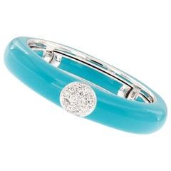 Italian Enamel Diamond 18 Karat White Gold Adjustable Band Ring