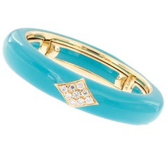 Italian Enamel Diamond 18 Karat Yellow Gold Adjustable Band Ring