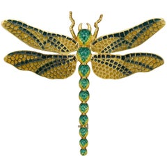 Italian Enamel Gold Dragonfly Brooch