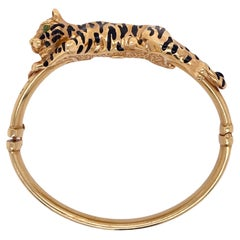 Italian Enamel Tiger 14 Karat Yellow Gold Vintage Hinged Bangle Bracelet