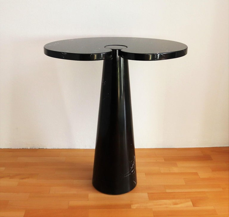 Italian Eros Marquina Marble Side Table By Angelo