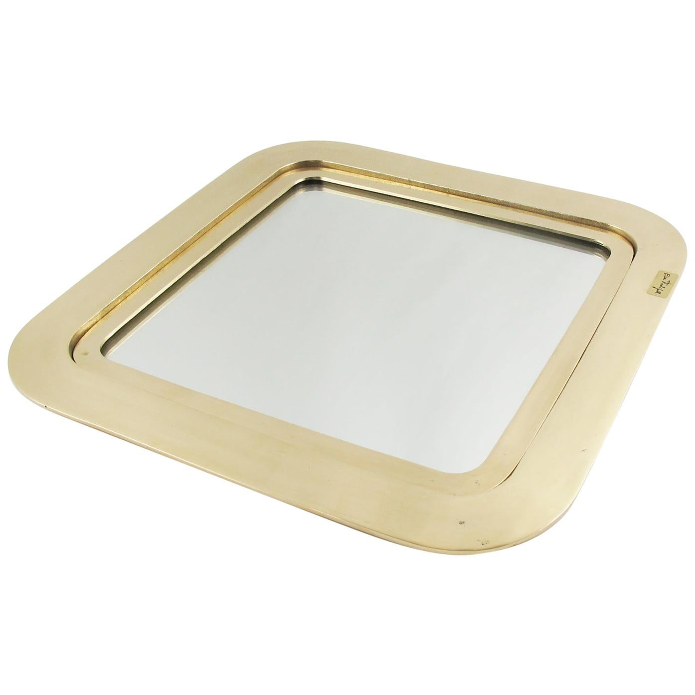 Italian Esa Fedrigolli Gilded Bronze Tray Platter