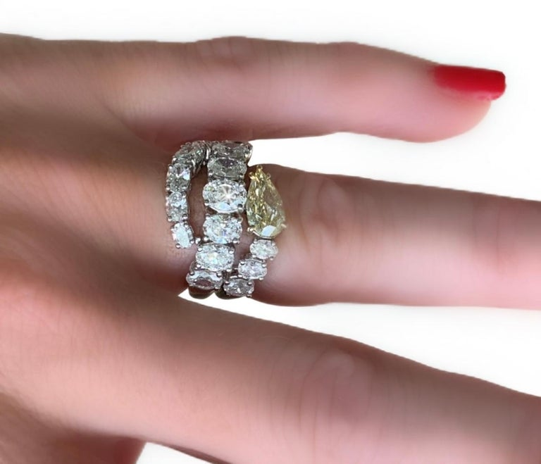 Modern Italian Estate Fancy Yellow and Oval Diamond Ring For Sale