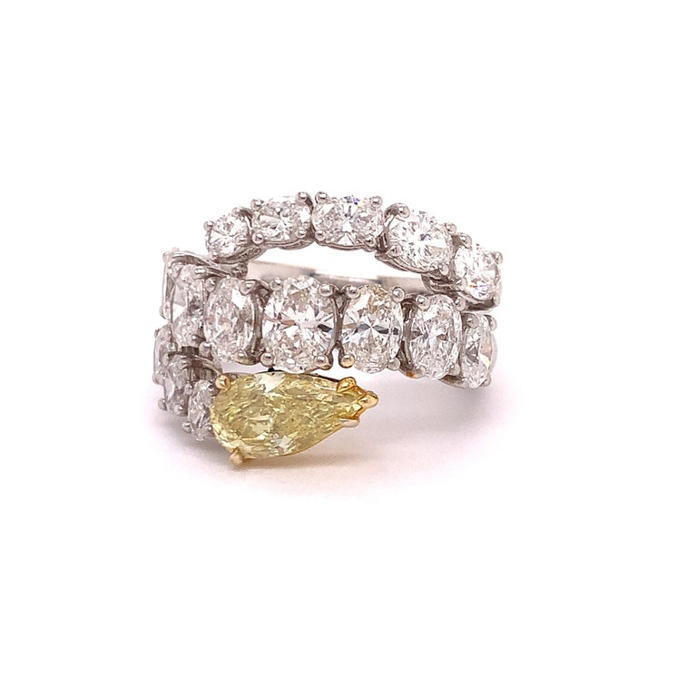Oval Cut Italian Estate Fancy Yellow and Oval Diamond Ring For Sale