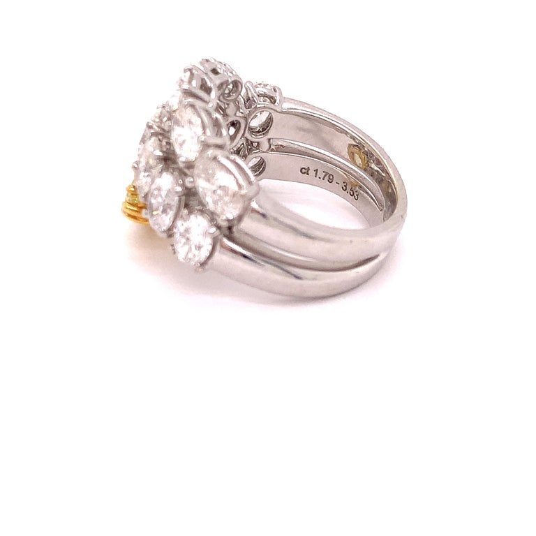 Women's or Men's Italian Estate Fancy Yellow and Oval Diamond Ring For Sale
