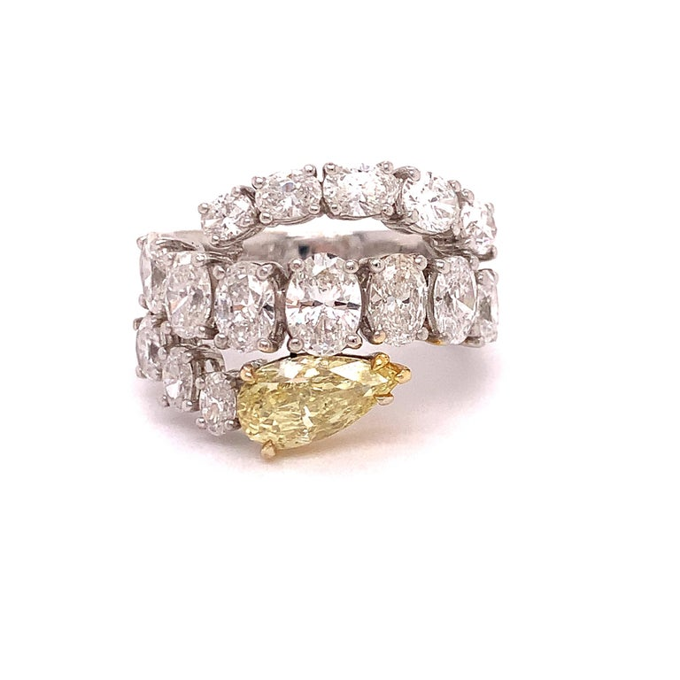 Italian Estate Fancy Yellow and Oval Diamond Ring For Sale 1