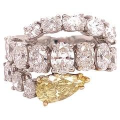 Italian Estate Fancy Yellow and Oval Diamond Ring