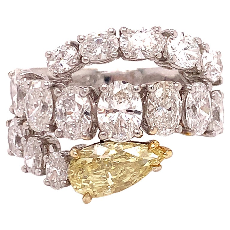 Italian Estate Fancy Yellow and Oval Diamond Ring For Sale