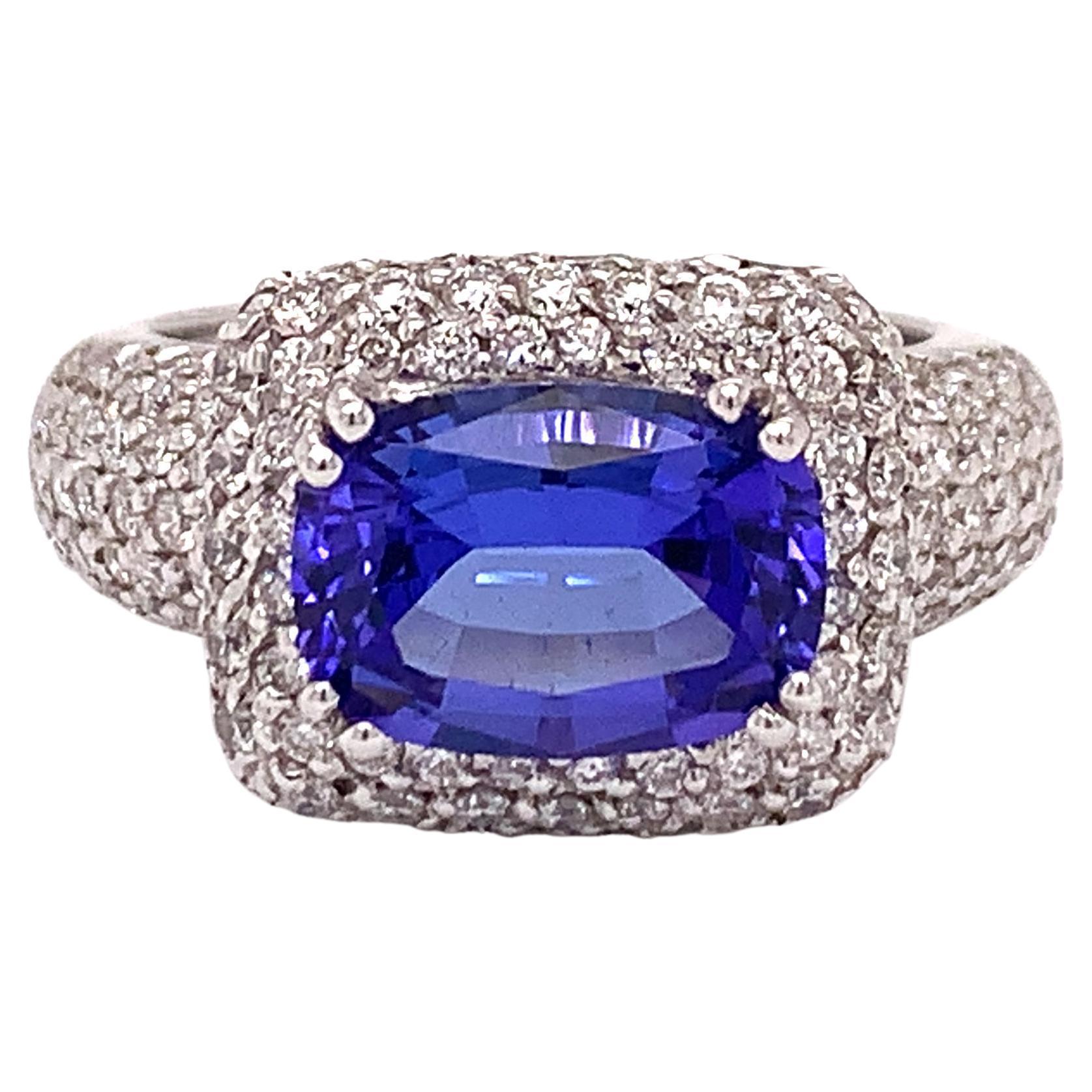 Italian Estate Tanzanite and Diamond Ring