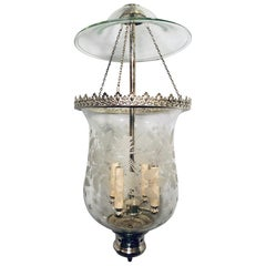 Italian Etched Glass Silver Plated Lantern