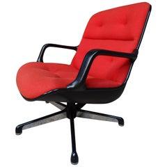 Italian Executive Swivel Arm Chair by Charles Pollock for Comforto Orange Fabric