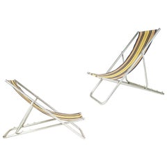 Italian Fabric and Aluminum  Midcentury Deckchairs with 4 Different Positions
