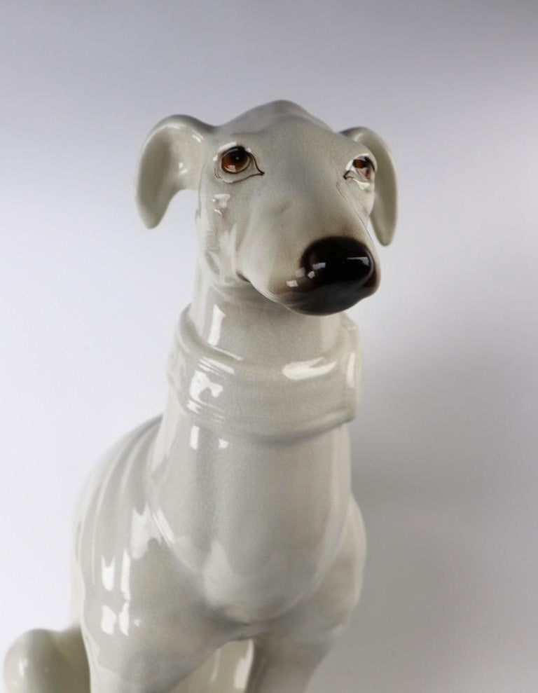 Italian Faience Ceramic Whippet Greyhound Statue For Sale 5
