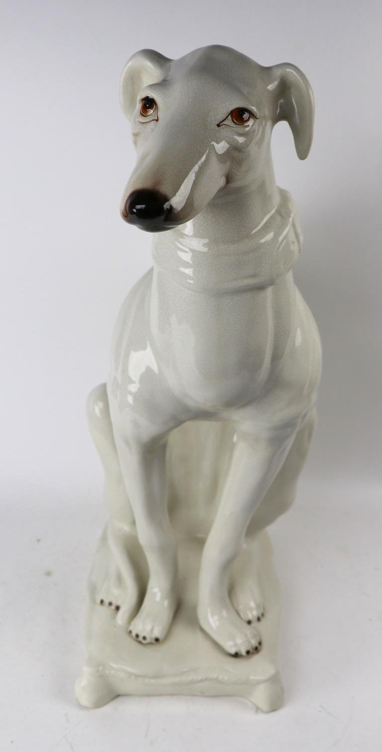 Italian Faience Ceramic Whippet Greyhound Statue For Sale 8