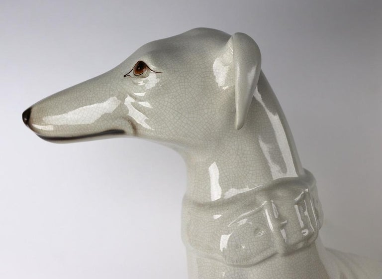 Italian Faience Ceramic Whippet Greyhound Statue For Sale 11