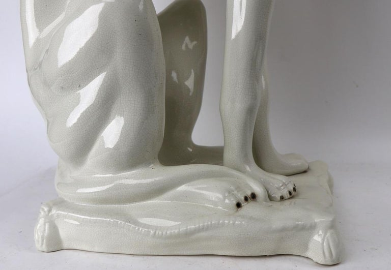 Italian Faience Ceramic Whippet Greyhound Statue In Excellent Condition For Sale In New York, NY