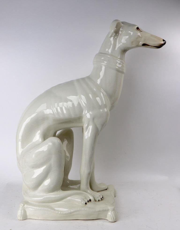 20th Century Italian Faience Ceramic Whippet Greyhound Statue For Sale