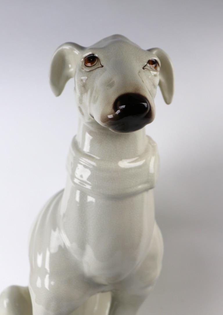 Italian Faience Ceramic Whippet Greyhound Statue For Sale 3