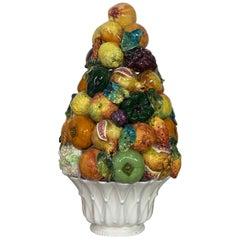 Italian Faience Glazed Ceramic Fruit Topiary Bassano Zortea, circa 1950's