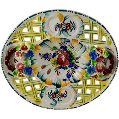 Italian Faïence Nove Rose Fretwork Decorative Platter