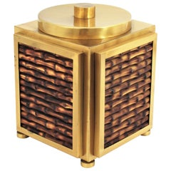 Italian Faux Bamboo Ceramic & Brass Champagne or Wine Cooler / Large Ice Bucket