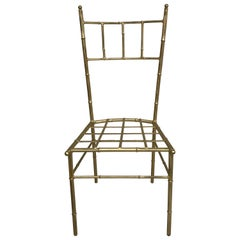 Italian Faux Bamboo Gilt Metal Vanity Chair