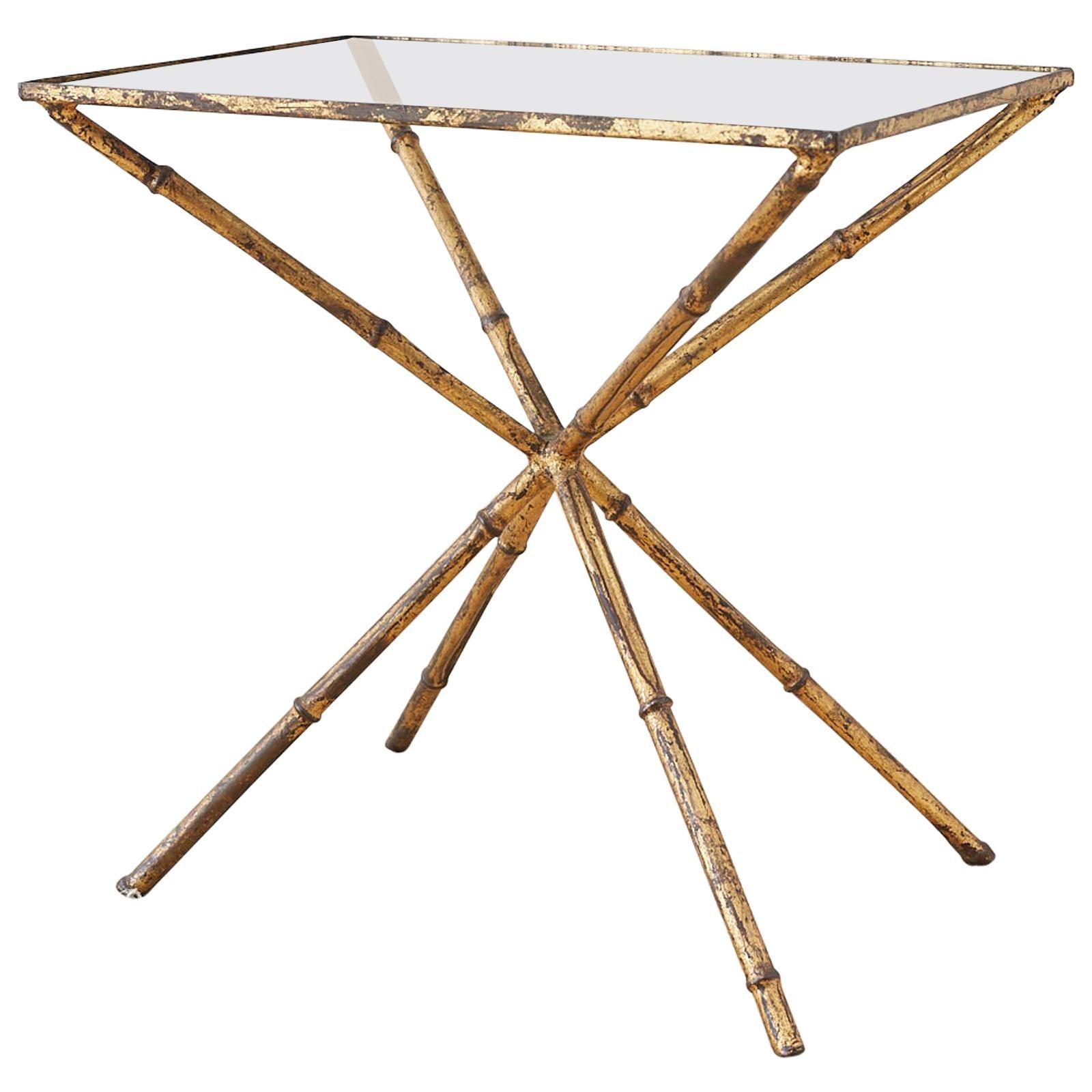 Italian Faux Bamboo Hollywood Regency Gilt Drinks Table
