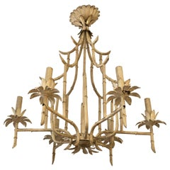 Italian Faux Bamboo Painted Iron and Tole Pagoda Style Chandelier