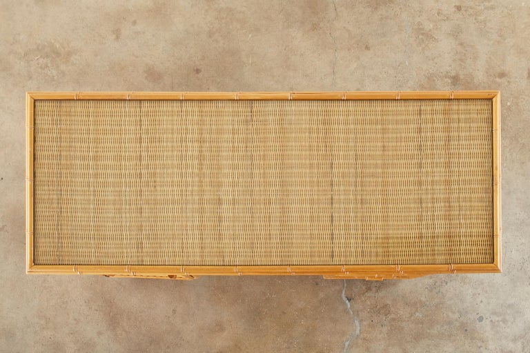 Italian Faux Bamboo Rattan Pedestal Writing Table or Desk For Sale 4