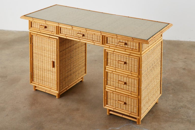 Mid-Century Modern Italian Faux Bamboo Rattan Pedestal Writing Table or Desk For Sale
