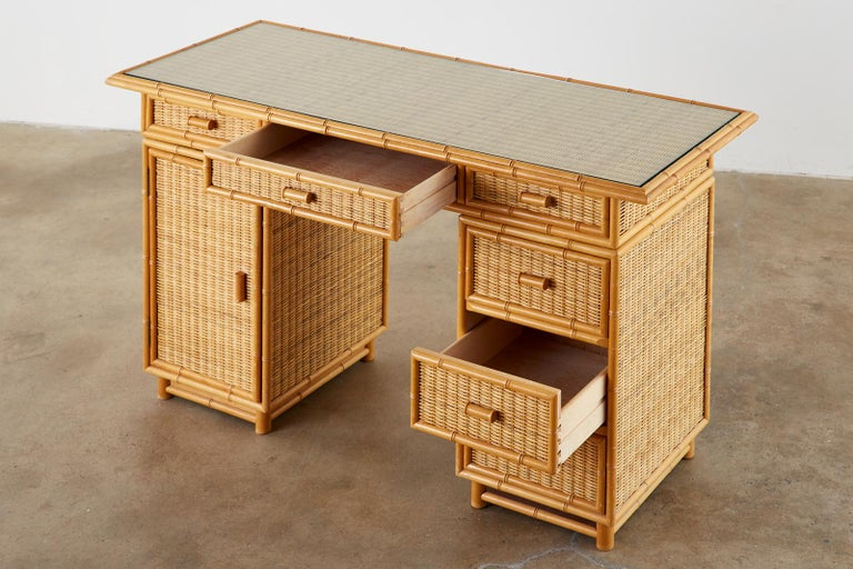 Hand-Crafted Italian Faux Bamboo Rattan Pedestal Writing Table or Desk For Sale
