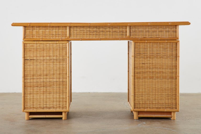 20th Century Italian Faux Bamboo Rattan Pedestal Writing Table or Desk For Sale
