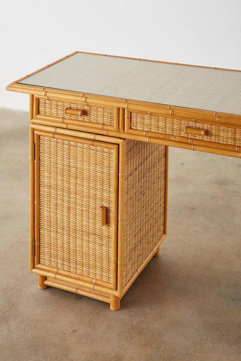 Wicker Italian Faux Bamboo Rattan Pedestal Writing Table or Desk For Sale
